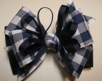 Hair Bow NAVY Blue White Buffalo Gingham School Uniform Wear Toddler to Big Girl