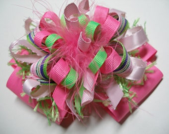 Birthday Party Hair Bow Over the Top Tropical Fruit Punch PINK Unique Funky Big Boutique Toddler Girl Handmade marabou Korkers Princess