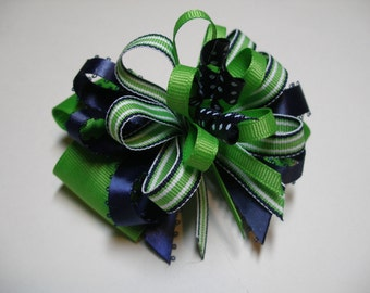 Hair Bow Preppy Back to School Navy Blue Kiwi Lime Apple Green Striped  Polka dot Korker Boutique Toddler Girl Nautical Wear