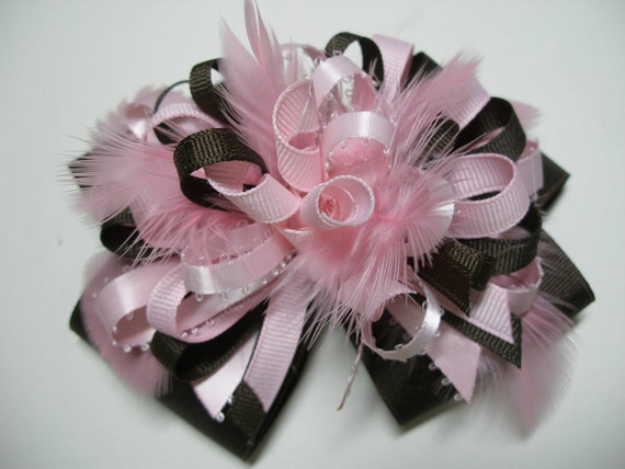 LRG Hair Bow Strawberry PINK Chocolate BROWN Over the Top Big Unique Boutique Toddler Handmade Feathers Birthday Party Girl