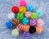 80pcs Assorted Colour Resin Rose Flower Cabochon 10mm Bulk Buy - Australia