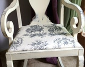 Antique Distressed Chair with Toile Upholstered Seat