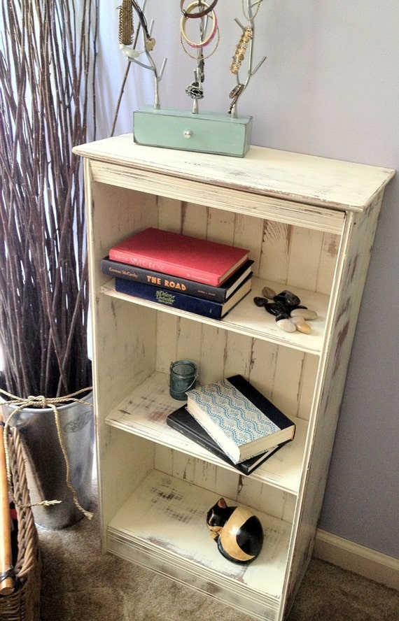 Distressed Small Vintage Pine Bookcase