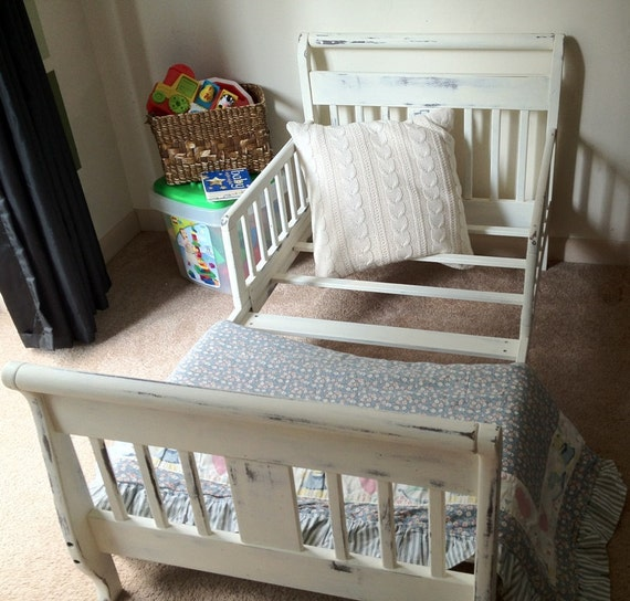 Painted Distressed Cottage Chic Toddler Sleigh Bed