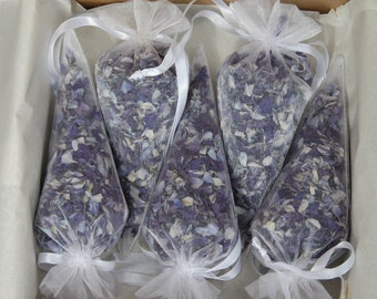 Biodegradable real petal wedding confetti - 5 filled organza cones