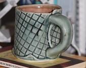 Slab handbuilt porcelain mug