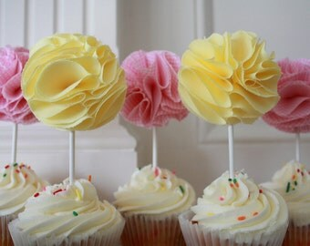Fabric Cupcake Toppers- Pink Gingham & Yellow