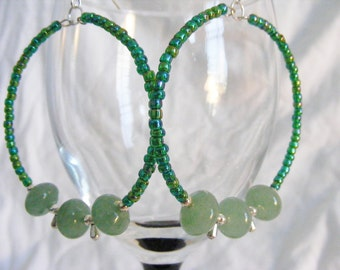 Hoop Earrings, Green Aventurine
