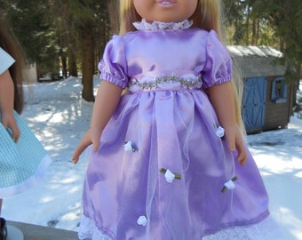 Purple satin Christmas or party dress