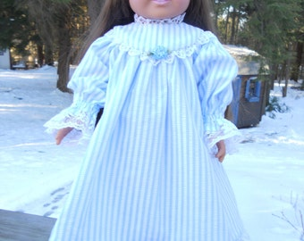 Delicate blue striped colonial or victorian nightie