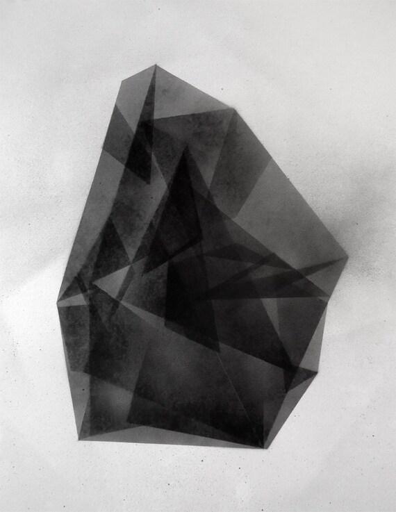 Original Geometric Modern Fine art Painting in black and white
