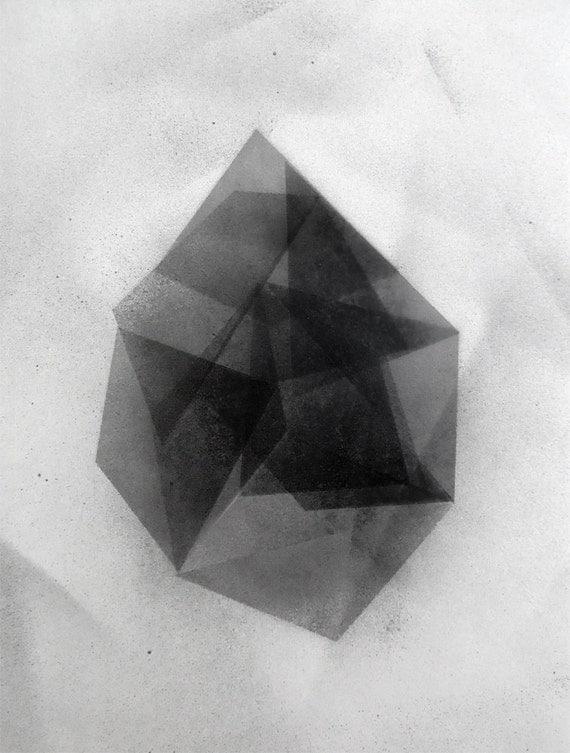 "Original modern geometric fine art Painting on paper, 11""X14"""