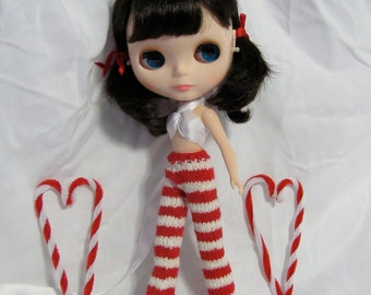 Candy Cane Stripe Straight Leg Pants - Hand Knitted Red and White Trousers for your Blythe Star