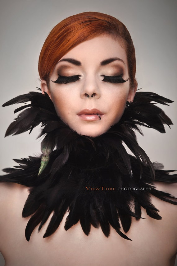 Gothic Feather collar choker victorian black burlesque swan Halloween raven crow costume Gogo
