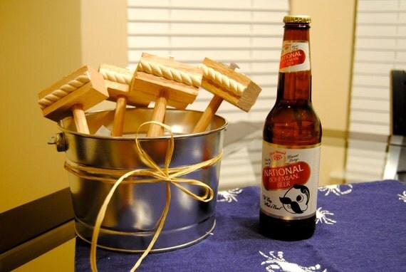 Bucket of Crab Mallets with Beer Bottle Openers