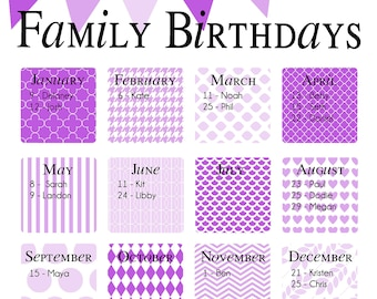 "Family Birthday Calendar - Digital copy you print in ""Lavender"""