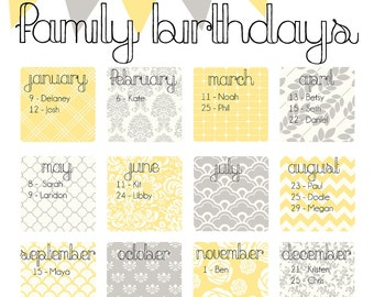 "Family Birthday Calendar - Digital copy you print in ""Yellow and Gray"""