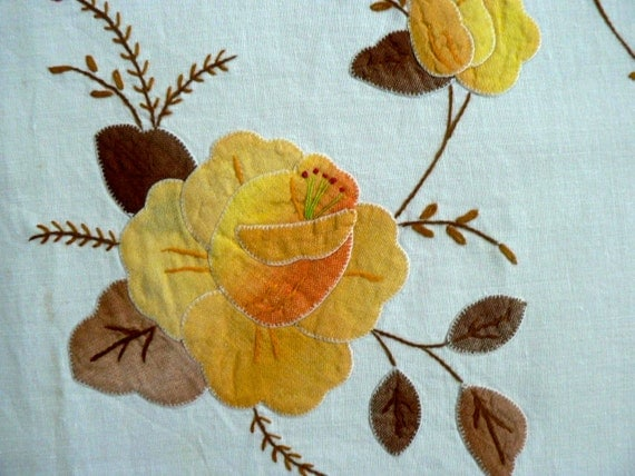 Hand embroidered vintage tablecloth applique fall graduated yellow and brown