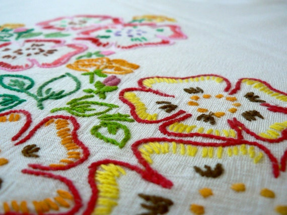 1950s colourful hand embroidered floral table cloth