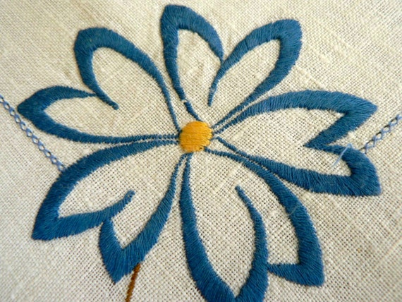 vintage blue flower green leaf rustic table cloth square small