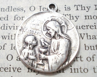 First Communion- Sterling Silver - Jesus Giving Us the Holy Eucharist Medal  - Made in the USA