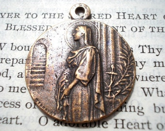 St. Philomena Medal - Bronze or Sterling Silver - St Philomena - Vintage Replica Religious Medal - Made in the USA (SF22-1063)