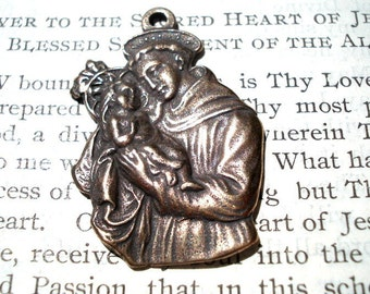 St. Anthony MEDAL - Bronze or Sterling Silver - Vintage Replica - Made in the USA (M153-1175)