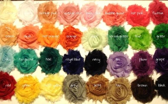 Shabby Chic Rosettes - Chiffon Flowers - SET of TWENTY - Choose from 85 colors - DIY - Hair clip - Headband - Sash