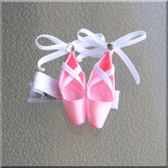 Pink ballet slippers hair clip dance hair bow pointe shoe for Ballet shoes decoration