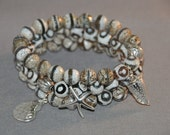 Beautiful Set of three agate bracelets with sterling silver Seaside Charms