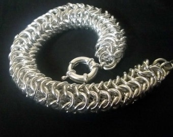 Silver plated Roundmaille, Chainmaille bracelet