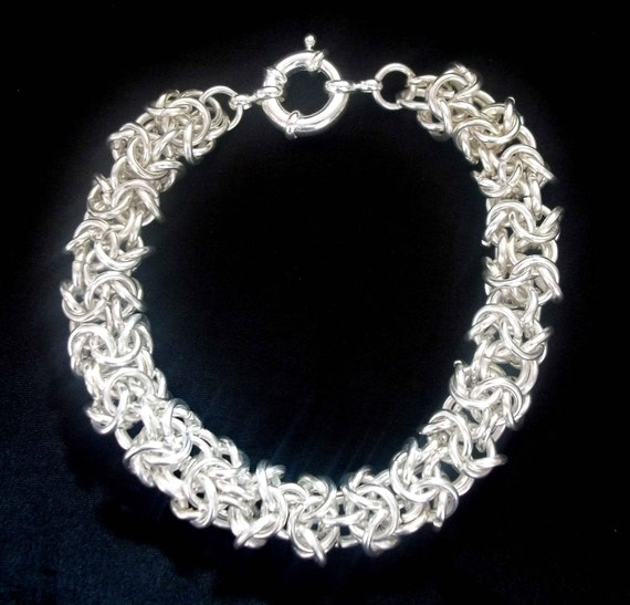 Mens Bracelet - Turkish Roundmaille SIlver Plated Chain Maille Chainmaille