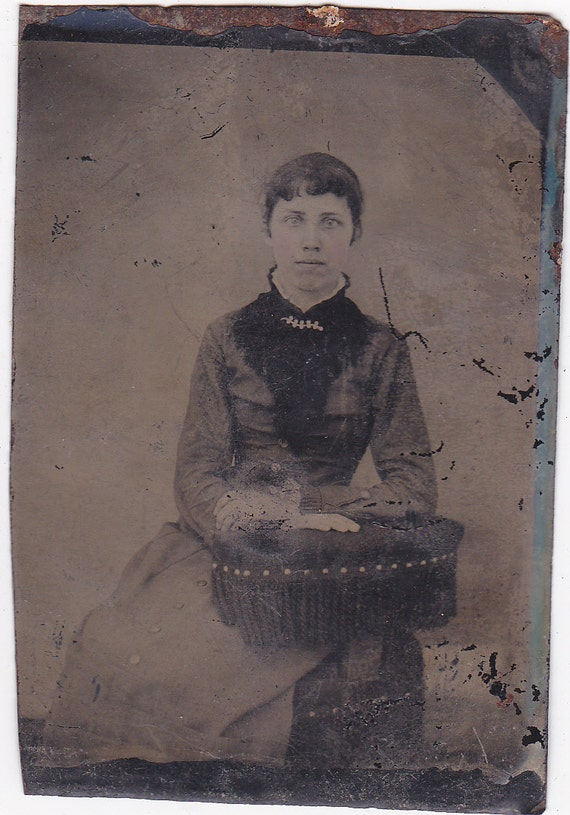 Tintype Photograph of Woman With Tinted Necklace
