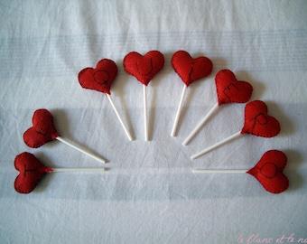 Message in a Lollipop - Felt Hearts - Cake Toppers