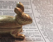 Highly Detailed Vintage Brass Bunny Rabbit Pillbox Container