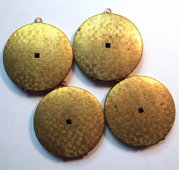 Vintage Round Patterned Raw Brass and Copper Locket 38mm 2 piece