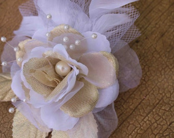Very  cute beaded  organza  flower with feather