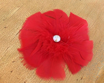 Red  color feather  flower with back pin