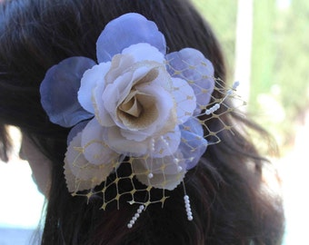 Very  cute  organza   flower  white and gold color