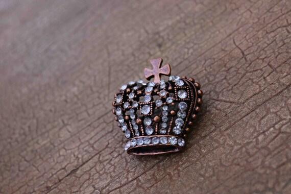 Beautiful  crown  brooch with sparkling rhinestones