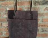 Re-purposed Horse Blanket WAXED CANVAS WOOL Tote Bag Leather Rein Straps