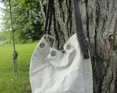 Reserved Listing - Upcycled VINTAGE POSTAL MAIL Bag Tote Canvas with Leather straps Large