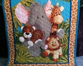 Jungle Baby Quilt  Panel  Blanket Nursery Wall Hanging Olive Green Polka Dot Fabric Back  35 x 44