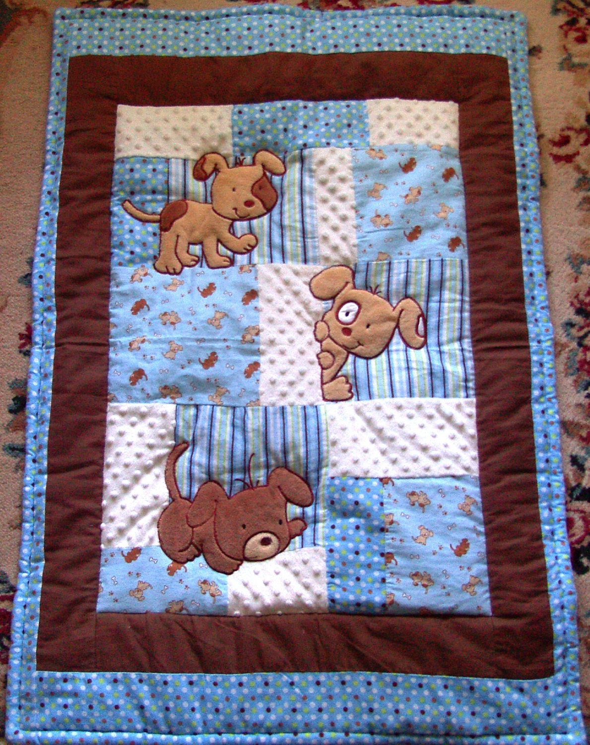 Items similar to Puppy Baby Quilt Minky Flannel Blanket Patchwork Flannel Back Boy Blanket 35x...