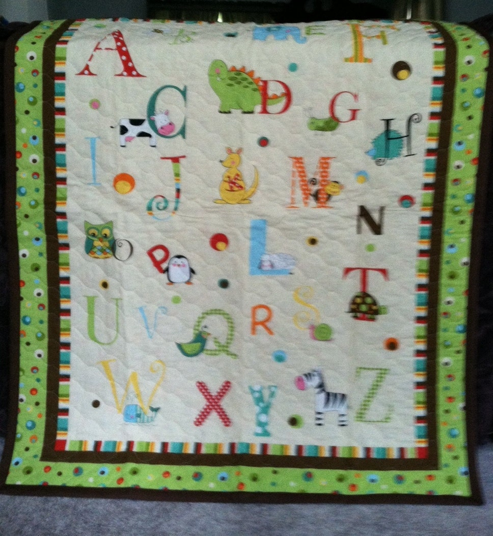 ABC Baby Blanket Quilt Wall Hanging Baby Zoo Animals And