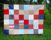 4th of July Picnic Quilt or Twin size  American Rose Patriotic Bed Patchwork Red Navy  Blue Stars Stripes Floral