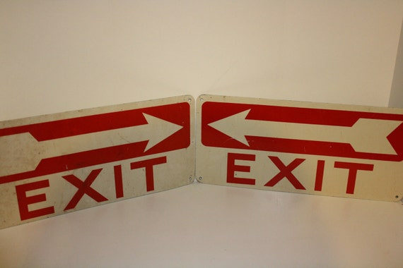 Pair of vintage 14in X 7in metal EXIT signs from the Zig Zag rolling paper/ Beechnut factory
