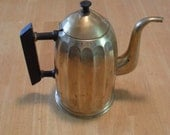 Mid Century Modern Brass Coffee Pot Bakelite Handle Marked Vintage Art Deco