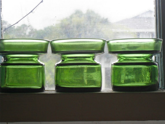 Set of 3 Dansk Jens Quistgaard Green Glass Votive Candle Holders Denmark IHQ