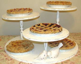 Pie Stand, Cupcake Stand, Rustic, Vintage, Shabby Chic, distressed finish,  Dessert Display